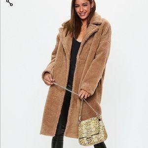 Camel chunky borg teddy coat